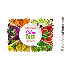 Color diet food, vegetable and fruit