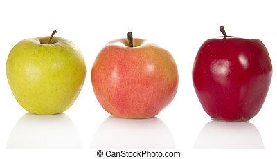 color, diferente, tres, manzanas