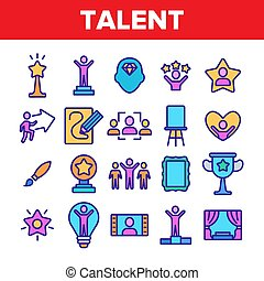 Color Different Human Talent Icons Set Vector