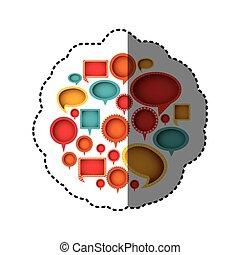 color differents figures cah bubbles icon