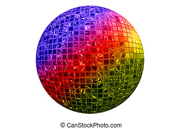 Color disco ball isolated on white background