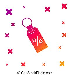 Color Discount percent tag icon isolated on white background. Shopping tag sign. Special offer sign. Discount coupons symbol. Gradient random dynamic shapes. Vector Illustration
