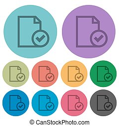 Color document accepted flat icons