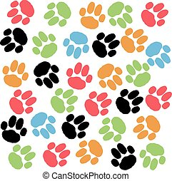 Color dog paws isolated on white background