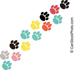 Color dog paws on white background