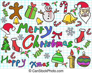 color doodle christmas background