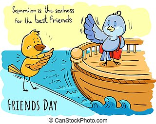 Color doodle greeting card Friends day Birds Separation is sadness