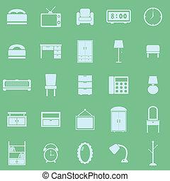 color, dormitorio, fondo verde, iconos