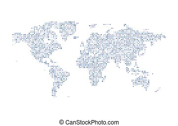 Color dotted Political World Map Vector isolated Illustration