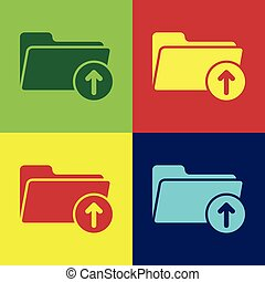 Color Download arrow with folder icon isolated on color backgrounds. Flat design. Vector Illustration