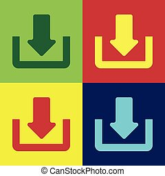 Color Download icon isolated on color backgrounds. Upload button. Load symbol. Arrow point to down. Flat design. Vector Illustration