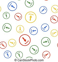 Color Download icon isolated seamless pattern on white background. Upload button. Load symbol. Arrow point to down. Vector