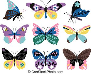 Color drawing butterfly set