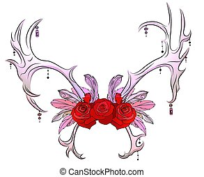 Color drawing of deer antlers with feathers, beads and roses. Tribal illustration. Vector boho element