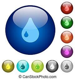 Color drop glass buttons