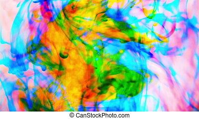 Color drop in water in motion. Ink swirling. Cloud of silky ink under water. Colorful ink in water, ink drop.