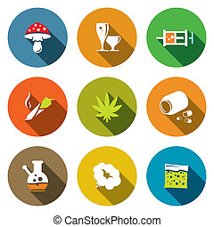 Color Drugs flat icon collection - Drugs icon set on a...