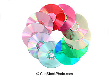 color dvd - cd and dvd isolated on the white background