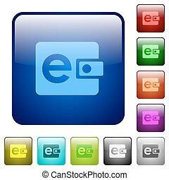 Color e-wallet glass buttons