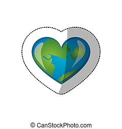 color earth planet heart icon