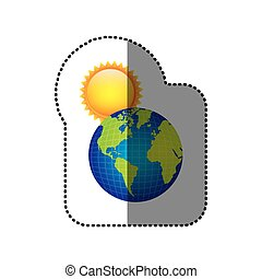 color earth planet with sun icon