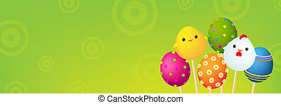 Color Easter Banner, With Gradient Mesh, Vector Illustration