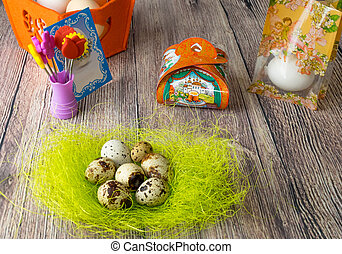 color Easter eggs table decoration with pictures for eggs