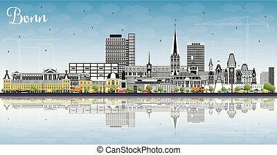 color, edificios, ciudad, cielo azul, contorno, alemania, ...