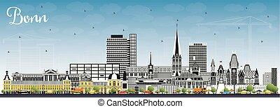 color, edificios, sky., ciudad, azul, contorno, alemania, ...