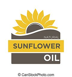 Color emblem of natural sunflower oil with yellow helianthus...