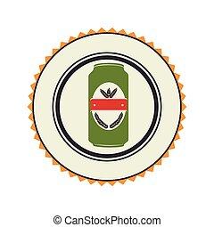 color emblem with canned drink vector illustration