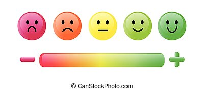 Color emoticon. Set five faces scale, smile, neutral and sad in red, orange and green isolated on white with scale bar rating and plus and minus sign. Customer satisfaction feedback concept. Simple glossy design. Vector illustration EPS10