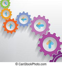 color, engranajes, infographics, número, opciones, bandera