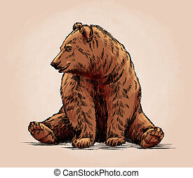 color engrave isolated grizzly bear - color engrave ink draw...