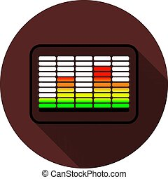 Color equalizer icon in a black outline with a shadow on a circle of dark red color, vector