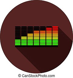 Color equalizer icon with shadow on a circle of dark red color, vector