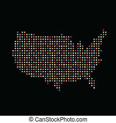 color, estados, cuadrado, punto, unido, mapa