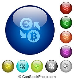 Color Euro Bitcoin exchange glass buttons