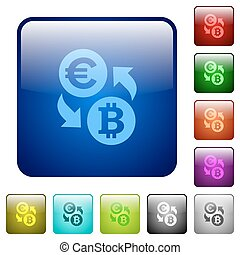 Color Euro Bitcoin exchange square buttons