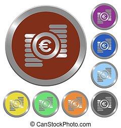 Color euro coins buttons