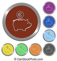 Color Euro piggy bank buttons