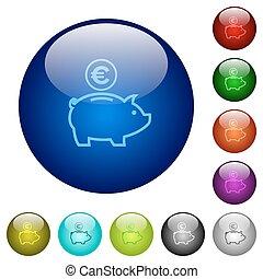 Color euro piggy bank glass buttons