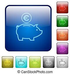Color euro piggy bank square buttons