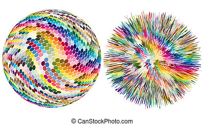 Color explosion - Artistic vector sphere with dots is...