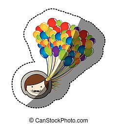 color face boy with balloons in the head