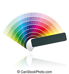 Color fan - Detailed vector illustration of an open color ...