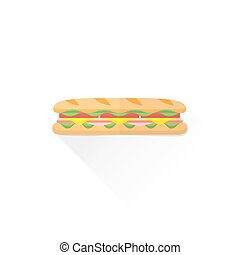 vector fast food baguette sandwich ham bacon lettuce tomato cheese flat design isolated illustration on white background with shadow