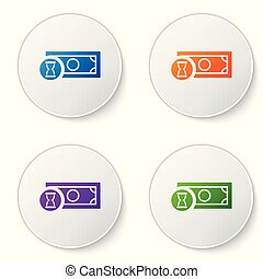 Color Fast payments icon isolated on white background. Fast money transfer payment. Financial services, fast loan, time is money, cash back concept. Set icons in circle buttons. Vector Illustration