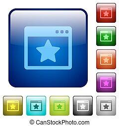 Color favorite application square buttons
