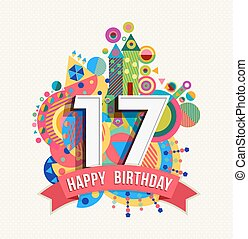 color, feliz, tarjeta, 17, cumpleaños, saludo, cartel, año